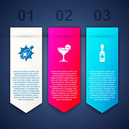 Set Tabasco sauce, Margarita cocktail and . Business infographic template. Vector