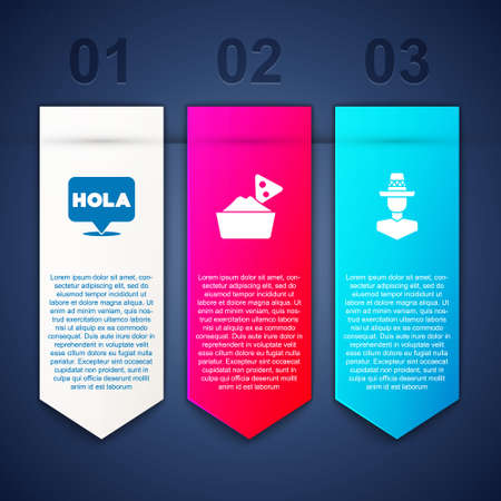 Set Hola, Nachos in bowl and Mexican man sombrero. Business infographic template. Vector
