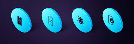 Set Isometric Mobile service, System bug, Dead mobile and on icon. Vector