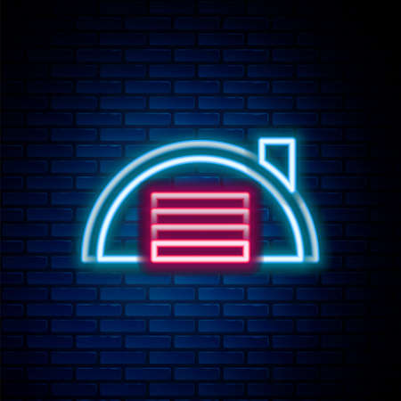 Glowing neon line Warehouse icon isolated on brick wall background. Colorful outline concept. Vector