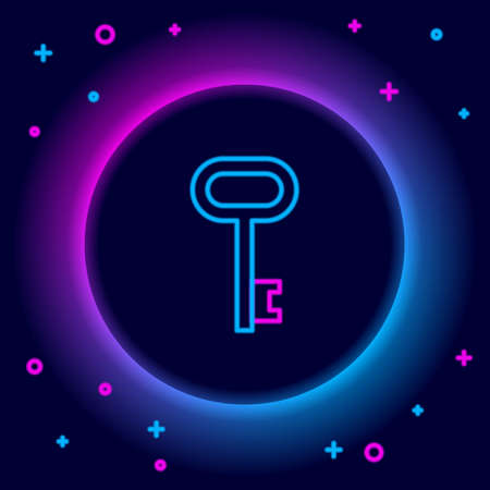 Glowing neon line House key icon isolated on black background. Colorful outline concept. Vector