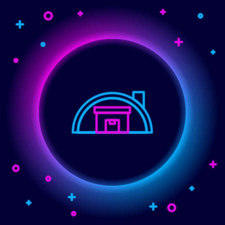 Glowing neon line Warehouse icon isolated on black background. Colorful outline concept. Vector