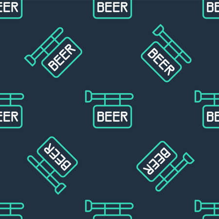 Line Street signboard with inscription Beer icon isolated seamless pattern on black background. Suitable for advertisements bar, cafe, pub, restaurant. Vector