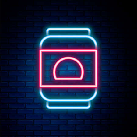 Glowing neon line Beer can icon isolated on brick wall background. Colorful outline concept. Vector