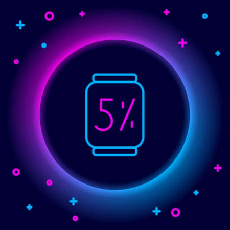Glowing neon line Beer can icon isolated on black background. Colorful outline concept. Vector