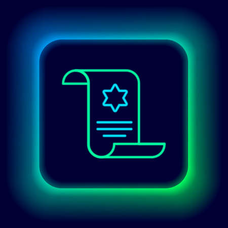 Glowing neon line Torah scroll icon isolated on black background. Jewish Torah in expanded form. Star of David symbol. Old parchment scroll. Colorful outline concept. Vector
