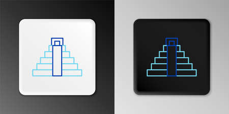Line Chichen Itza in Mayan icon isolated on grey background. Ancient Mayan pyramid. Famous monument of Mexico. Colorful outline concept. Vector Ilustração