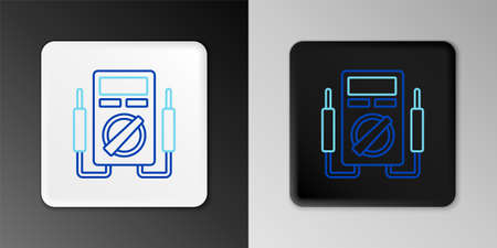 Line Ampere meter, multimeter, voltmeter icon isolated on grey background. Instruments for measurement of electric current. Colorful outline concept. Vector