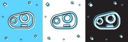 Set Car headlight icon isolated on blue and white, black background. Vector