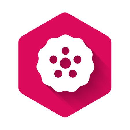 White Gear icon isolated with long shadow background. Cogwheel gear settings sign. Cog symbol. Pink hexagon button. Vector Ilustración de vector