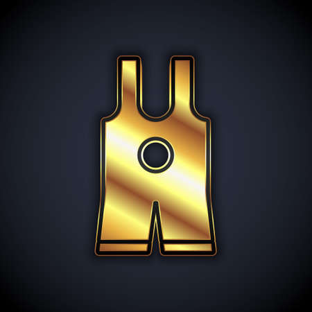 Gold Wrestling singlet icon isolated on black background. Wrestling tricot. Vector