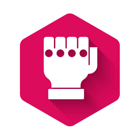 White   glove icon isolated with long shadow background. Sports accessory fighters. Warrior gloves. Pink hexagon button. Vector 矢量图像