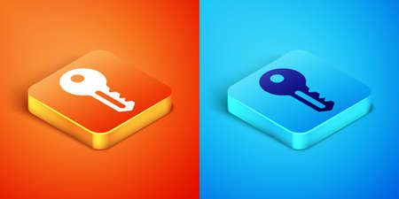 Isometric House key icon isolated on orange and blue background. Vector Vettoriali