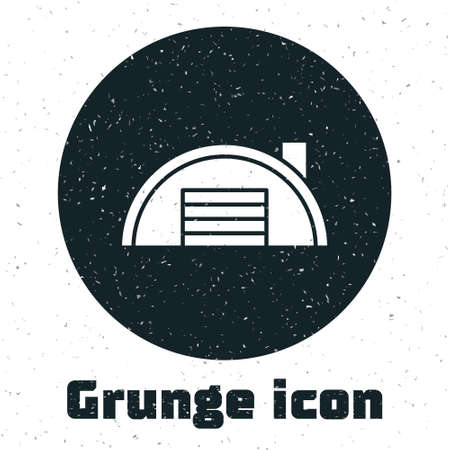 Grunge Warehouse icon isolated on white background. Monochrome vintage drawing. Vector