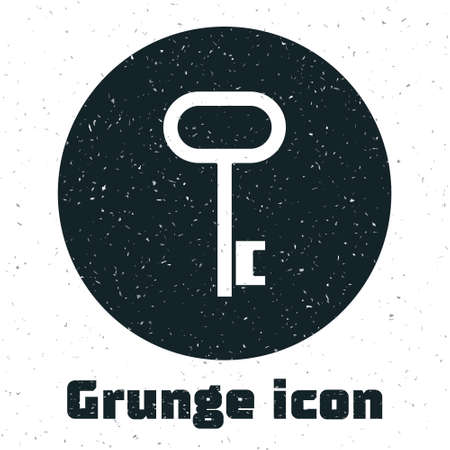 Grunge House key icon isolated on white background. Monochrome vintage drawing. Vector