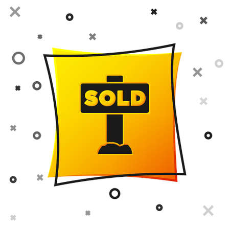 Black Hanging sign with text Sold icon isolated on white background. Sold sticker. Sold signboard. Yellow square button. Vector