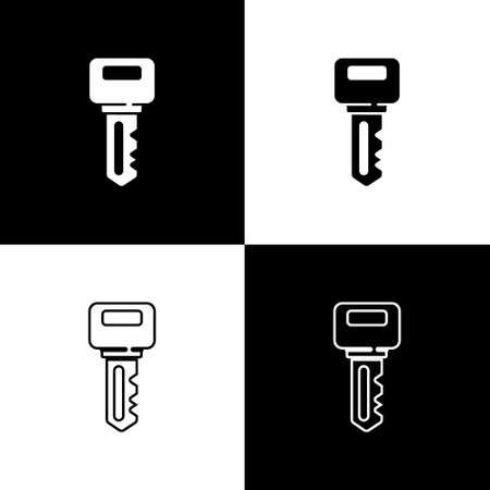 Set House key icon isolated on black and white background. Vector Vettoriali