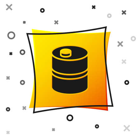 Black Metal beer keg icon isolated on white background. Yellow square button. Vector