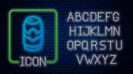 Glowing neon Beer can icon isolated on brick wall background. Neon light alphabet. Vector