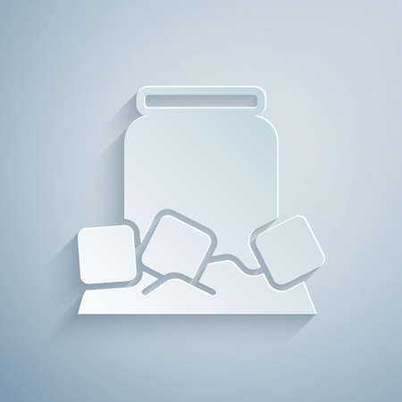Paper cut Cold beer can icon isolated on grey background. Paper art style. Vector  イラスト・ベクター素材