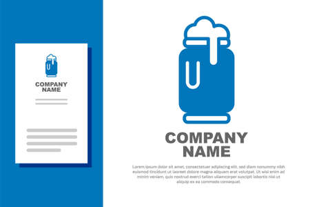 Blue Beer can with foam icon isolated on white background. Logo design template element. Vector  イラスト・ベクター素材