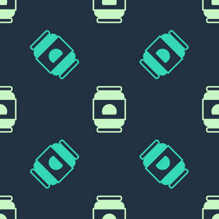 Green and beige Beer can icon isolated seamless pattern on blue background. Vector