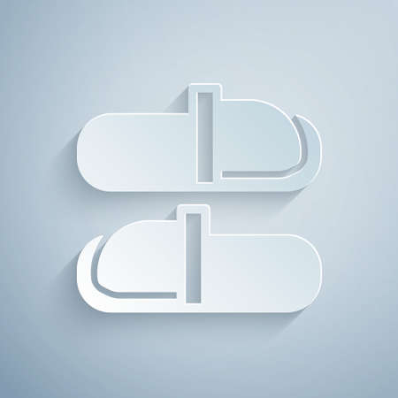 Paper cut Sauna slippers icon isolated on grey background. Paper art style. Vector
