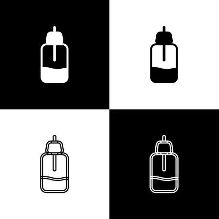 Set Essential oil bottle icon isolated on black and white background. Organic aromatherapy essence. Skin care serum glass drop package. Vector