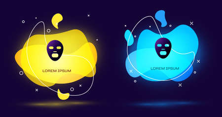 Black Facial cosmetic mask icon isolated on black background. Cosmetology, medicine and health care. Abstract banner with liquid shapes. Vector