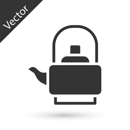 Grey Kettle with handle icon isolated on white background. Teapot icon. Vector  イラスト・ベクター素材