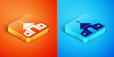 Isometric Church building icon isolated on orange and blue background. Christian Church. Religion of church. Vector 일러스트