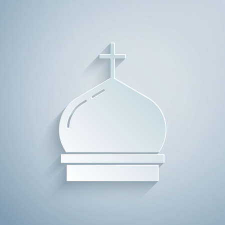 Paper cut Christian church tower icon isolated on grey background. Religion of church. Paper art style. Vector 일러스트