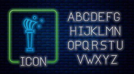 Glowing neon Aspergillum icon isolated on brick wall background. Neon light alphabet. Vector