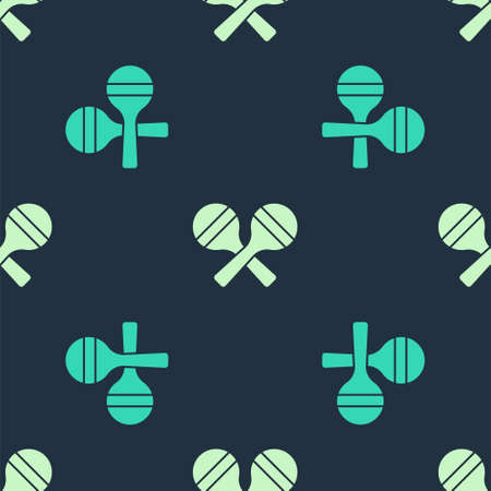 Green and beige Maracas icon isolated seamless pattern on blue background. Music maracas instrument mexico. Vector