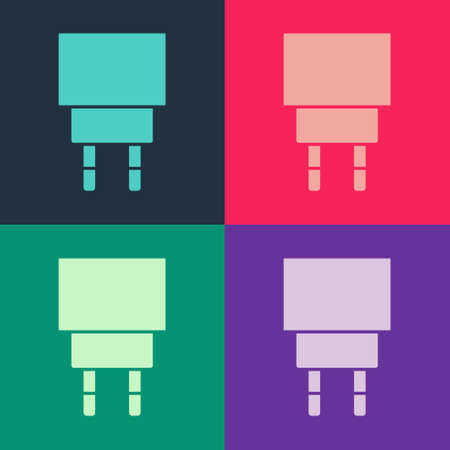 Pop art Charger icon isolated on color background. Vector Иллюстрация