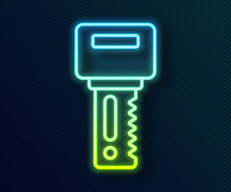 Glowing neon line Car key with remote icon isolated on black background. Car key and alarm system. Vector Vettoriali