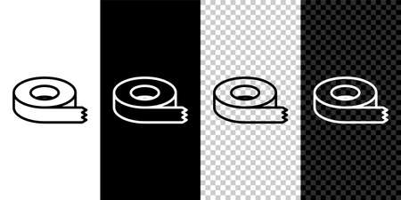 Set line tape icon isolated on black and white,transparent background. Insulating tape. Vector