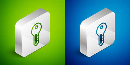 Isometric line House key icon isolated on green and blue background. Silver square button. Vector