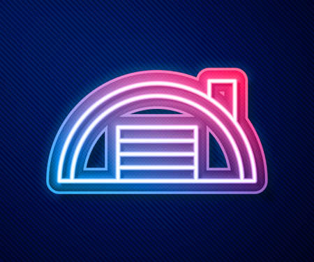 Glowing neon line Warehouse icon isolated on blue background. Vector