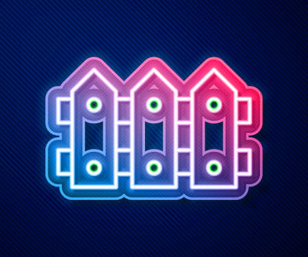 Glowing neon line Garden fence wooden icon isolated on blue background. Vector