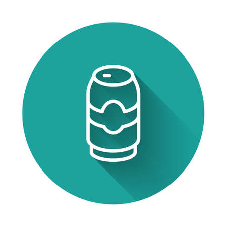 White line Beer can icon isolated with long shadow background. Green circle button. Vector