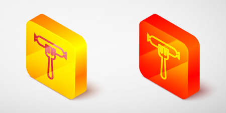 Isometric line Sausage on the fork icon isolated on grey background. Grilled sausage and aroma sign. Yellow and orange square button. Vector