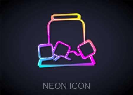 Glowing neon line Cold beer can icon isolated on black background. Vector