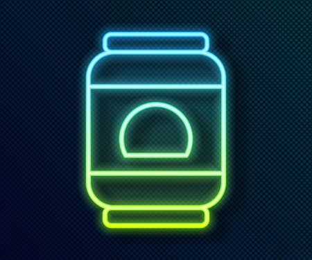 Glowing neon line Beer can icon isolated on black background. Vector