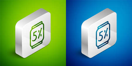 Isometric line Beer can icon isolated on green and blue background. Silver square button. Vector  イラスト・ベクター素材