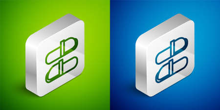 Isometric line Sauna slippers icon isolated on green and blue background. Silver square button. Vector
