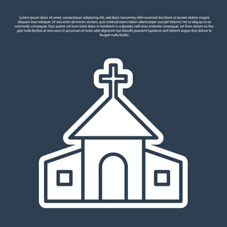 Blue line Church building icon isolated on blue background. Christian Church. Religion of church. Vector 일러스트