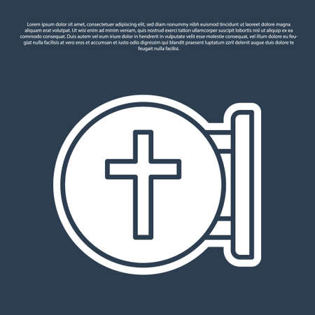 Blue line Christian cross icon isolated on blue background. Church cross. Vector