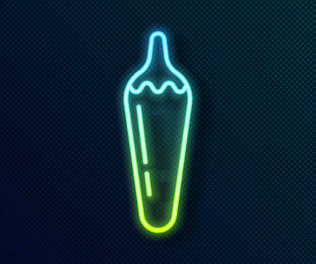 Glowing neon line Hot chili pepper pod icon isolated on black background. Design for grocery, culinary products, seasoning and spice package, cooking book. Vector