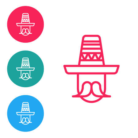 Red line Mexican man wearing sombrero icon isolated on white background. Hispanic man with a mustache. Set icons in circle buttons. Vector